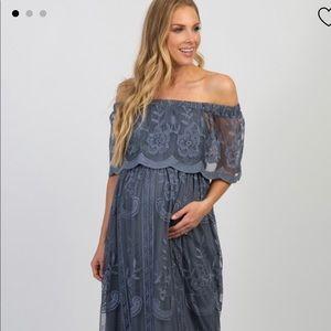 Blue Lace Off Shoulder Maternity Maxi Dress